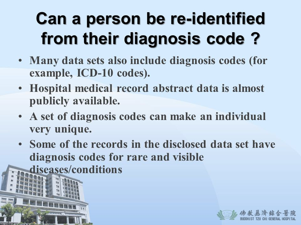 Can a person be re-identified from their diagnosis code