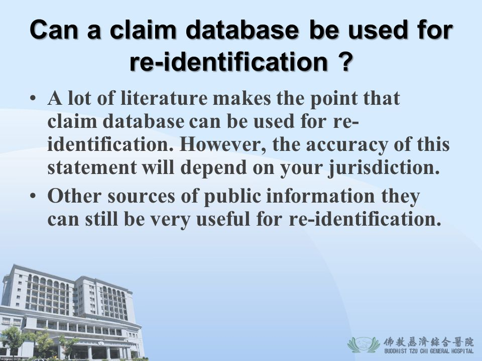 Can a claim database be used for re-identification