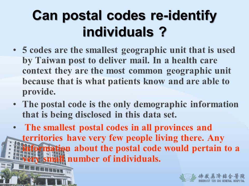 Can postal codes re-identify individuals