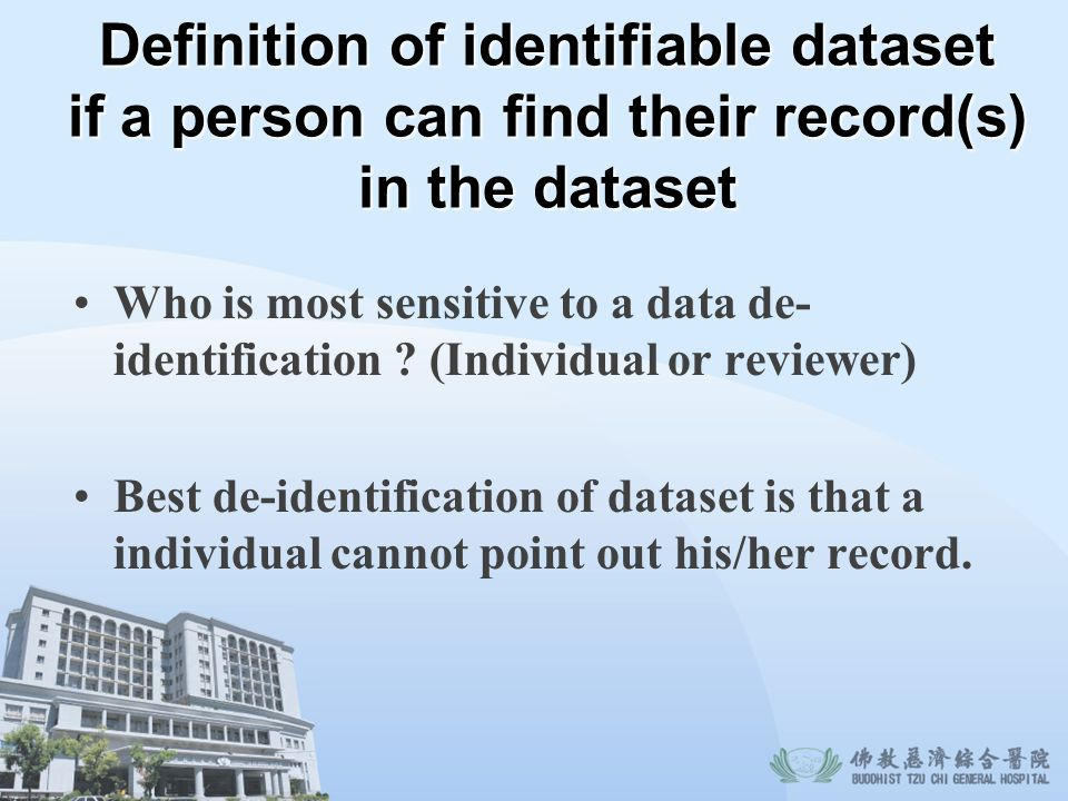 Definition of identifiable dataset if a person can find their record(s) in the dataset