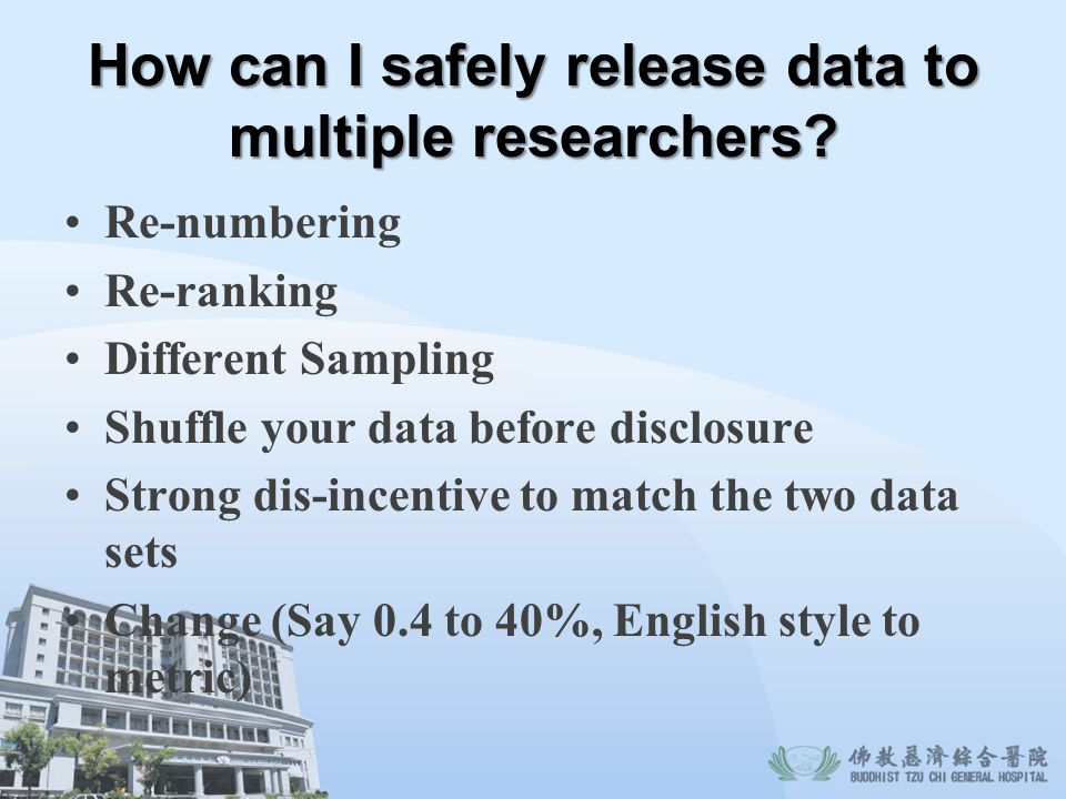 How can I safely release data to multiple researchers