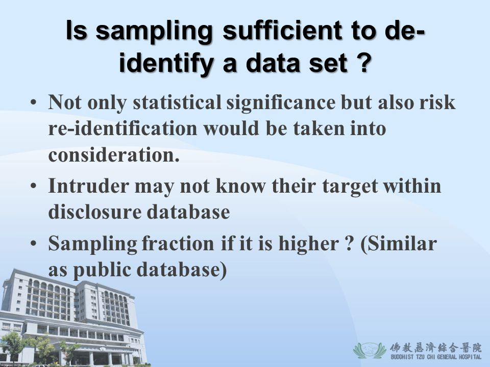 Is sampling sufficient to de-identify a data set