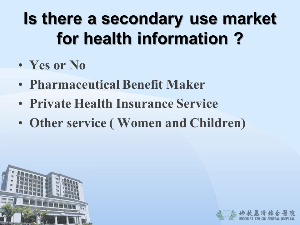 Is there a secondary use market for health information