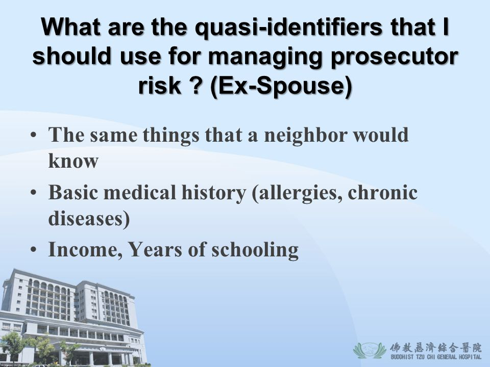 What are the quasi-identifiers that I should use for managing prosecutor risk (Ex-Spouse)