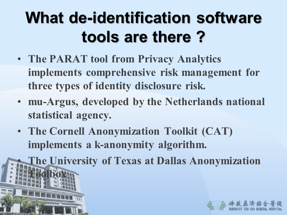 What de-identification software tools are there