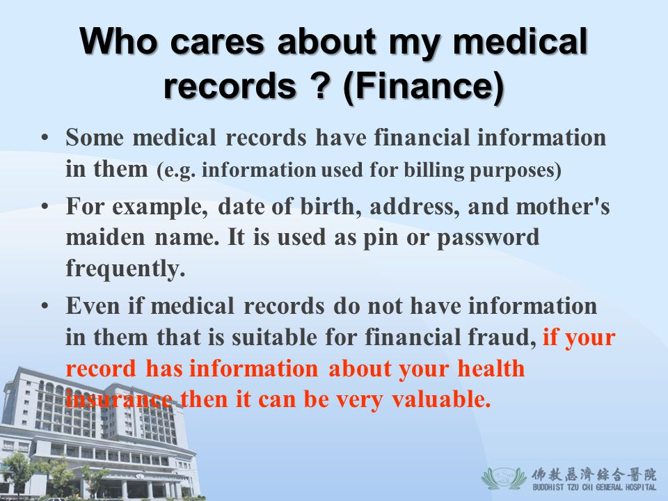 Who cares about my medical records (Finance)