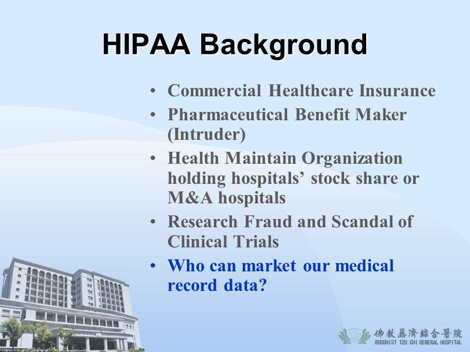 HIPAA Background Commercial Healthcare Insurance