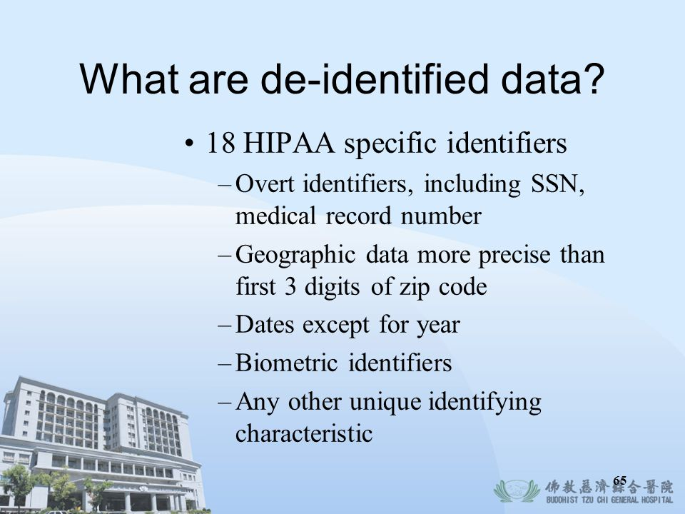 What are de-identified data