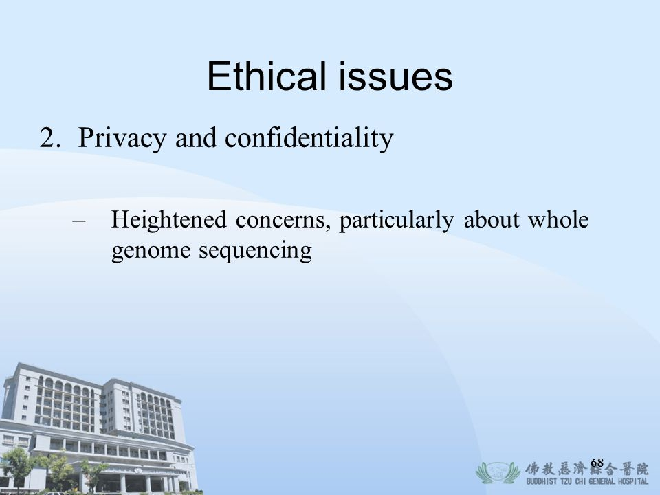 Ethical issues Privacy and confidentiality