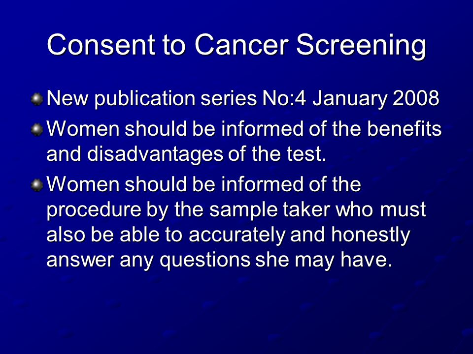 Consent to Cancer Screening