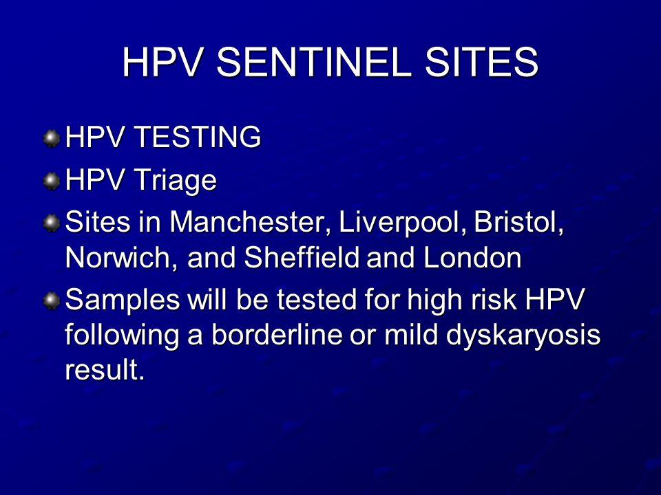 HPV SENTINEL SITES HPV TESTING HPV Triage