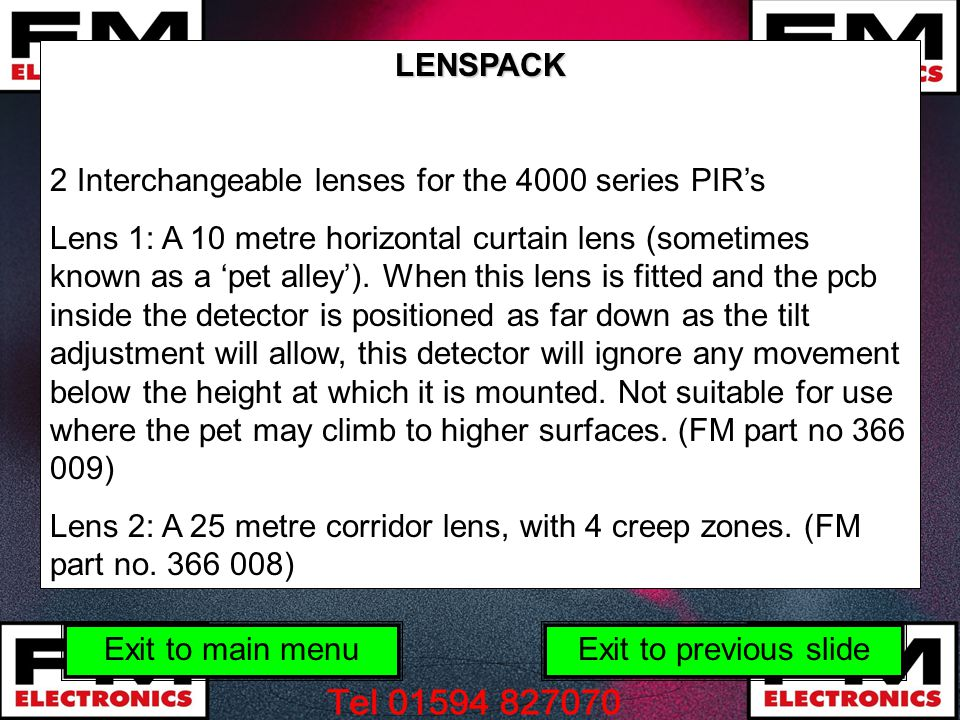 LENSPACK 2 Interchangeable lenses for the 4000 series PIR's.