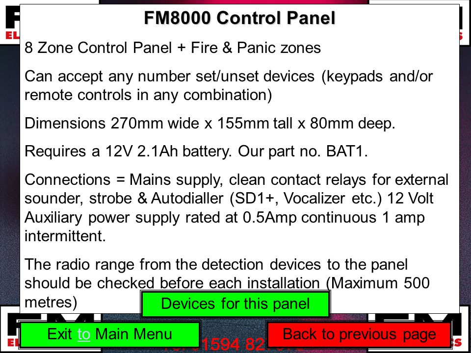 FM8000 Control Panel 8 Zone Control Panel + Fire & Panic zones