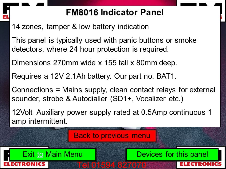 FM8016 Indicator Panel 14 zones, tamper & low battery indication