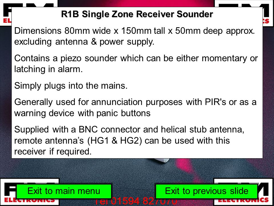 R1B Single Zone Receiver Sounder