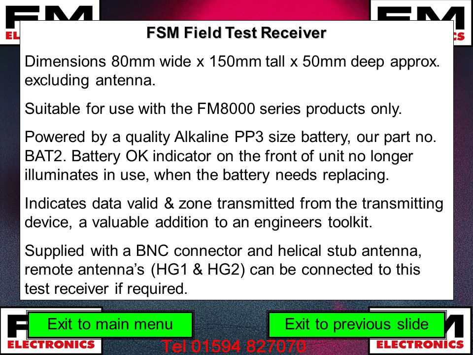 FSM Field Test Receiver
