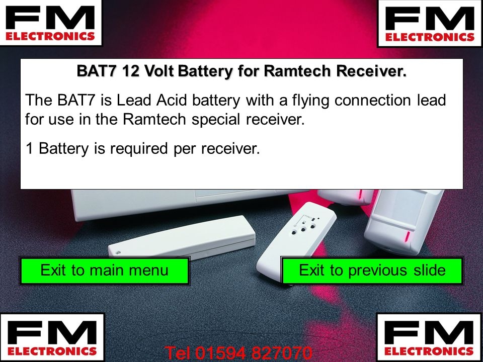 BAT7 12 Volt Battery for Ramtech Receiver.