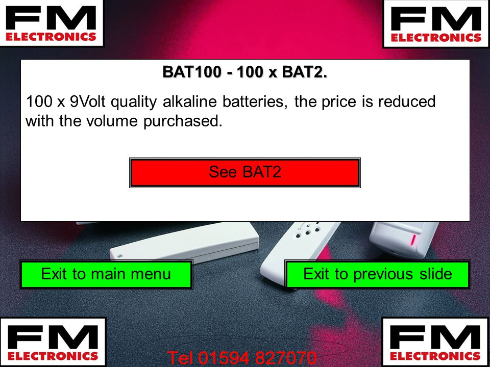 BAT100 - 100 x BAT2. 100 x 9Volt quality alkaline batteries, the price is reduced with the volume purchased.