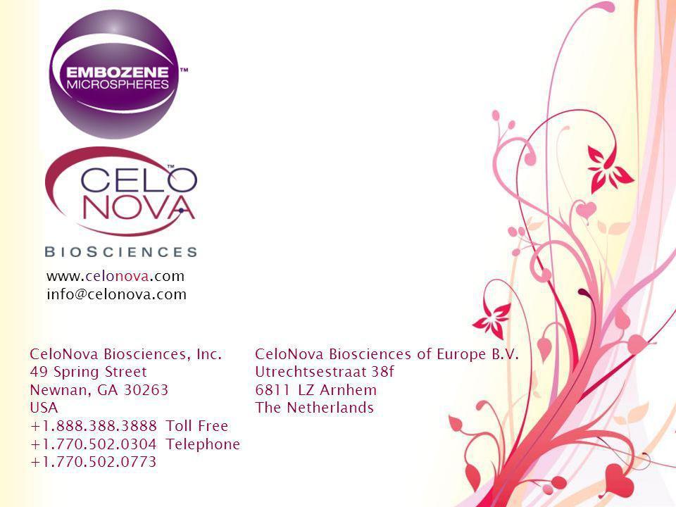 www.celonova.com info@celonova.com. CeloNova Biosciences, Inc. 49 Spring Street. Newnan, GA 30263.