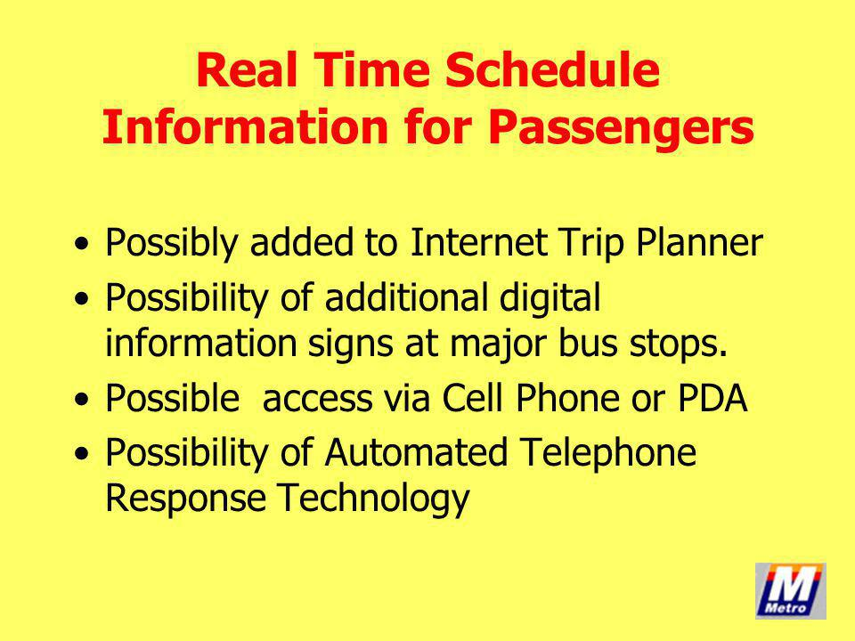 Real Time Schedule Information for Passengers