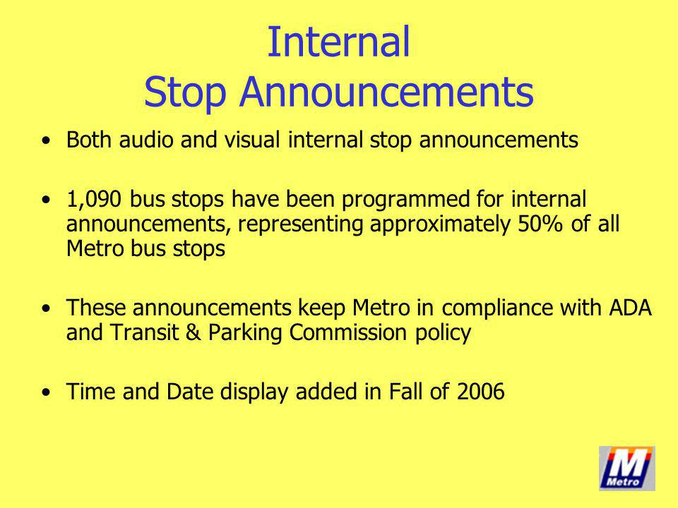 Internal Stop Announcements