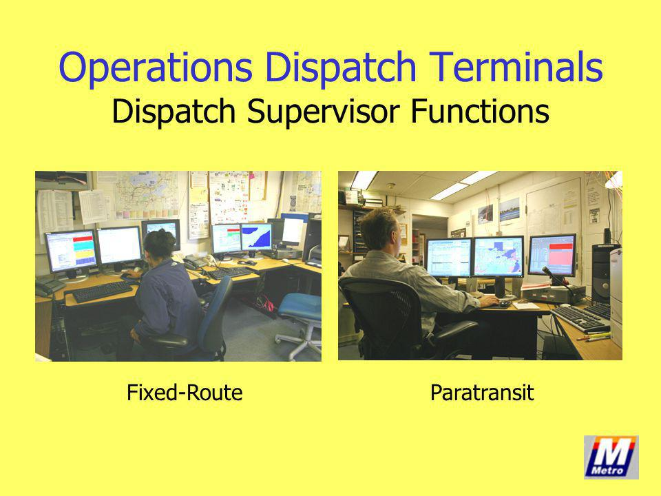 Operations Dispatch Terminals Dispatch Supervisor Functions