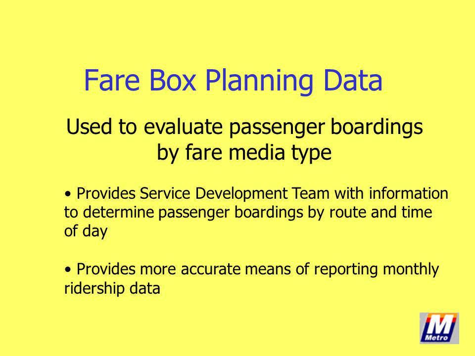 Used to evaluate passenger boardings