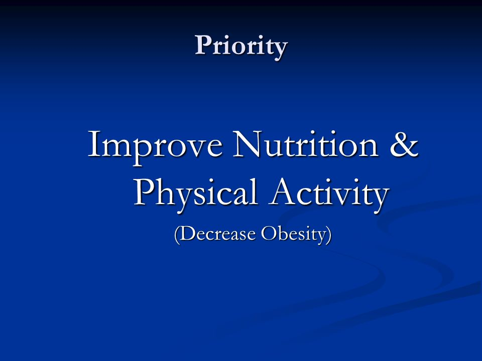 Improve Nutrition & Physical Activity