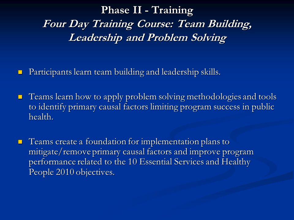 Phase II - Training Four Day Training Course: Team Building, Leadership and Problem Solving