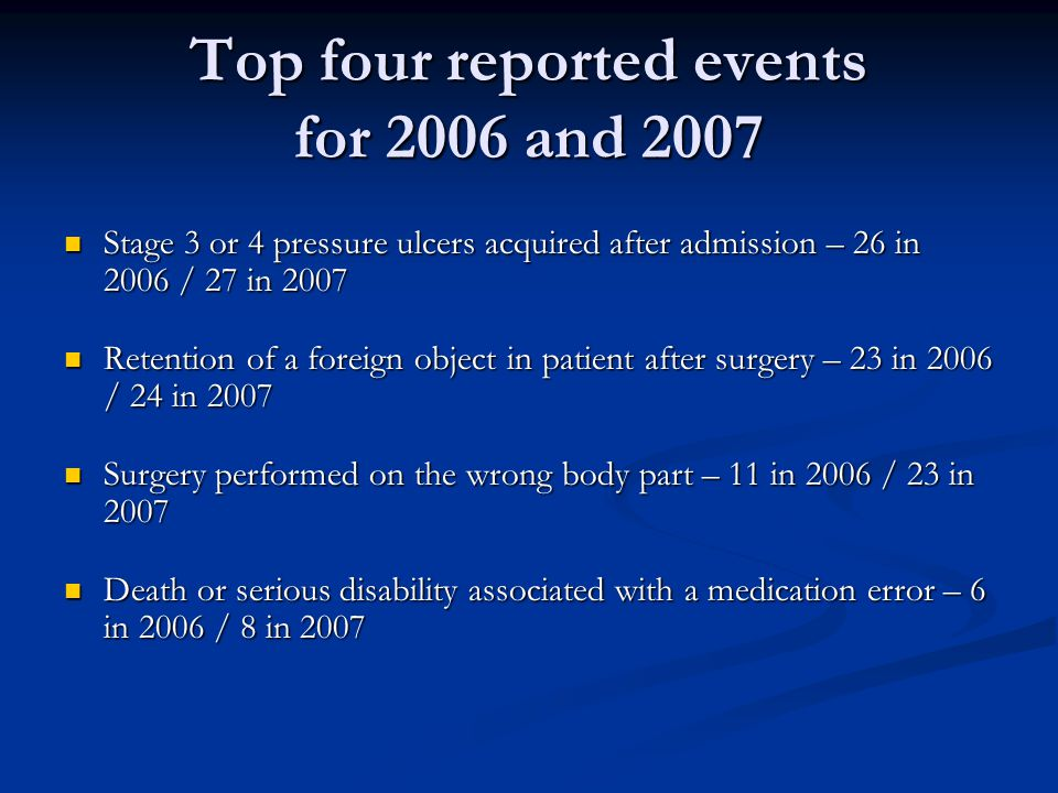 Top four reported events for 2006 and 2007
