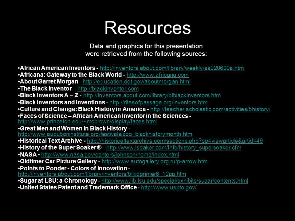 Resources Data and graphics for this presentation