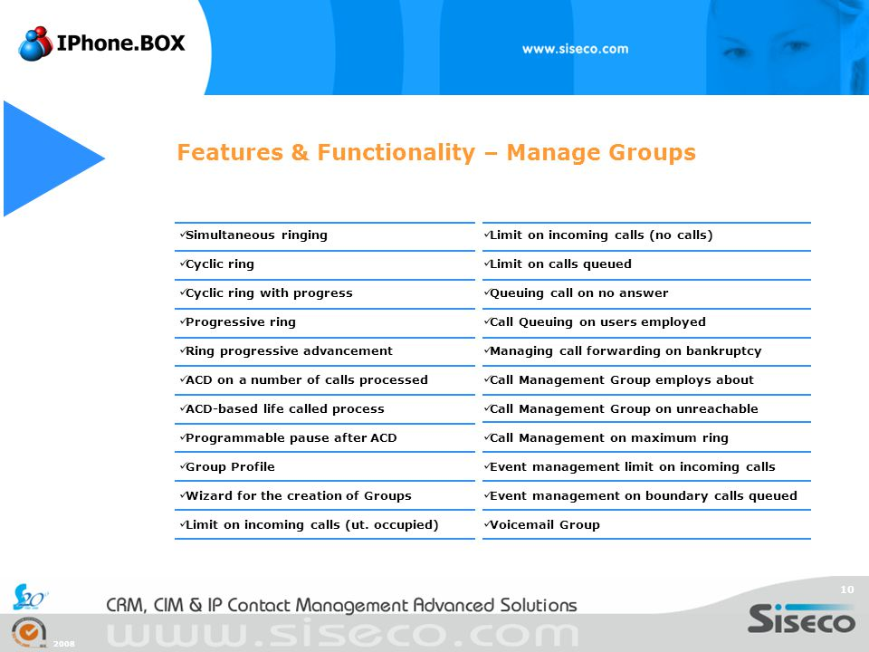 Features & Functionality – Manage Groups