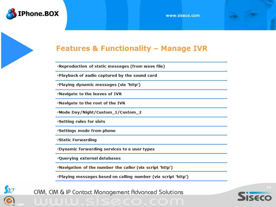 Features & Functionality – Manage IVR