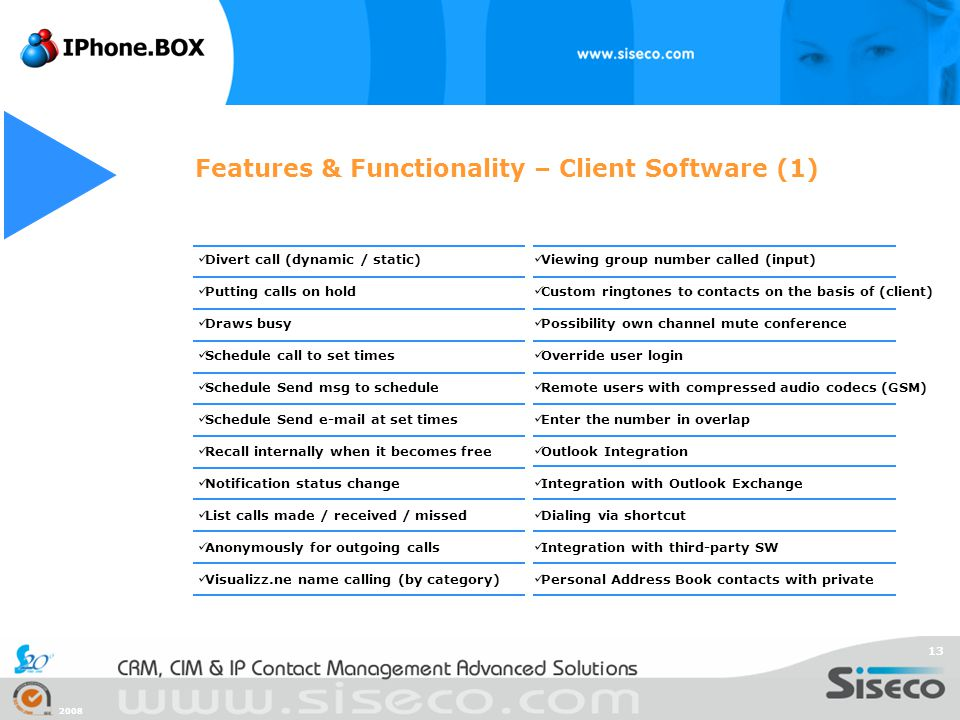 Features & Functionality – Client Software (1)