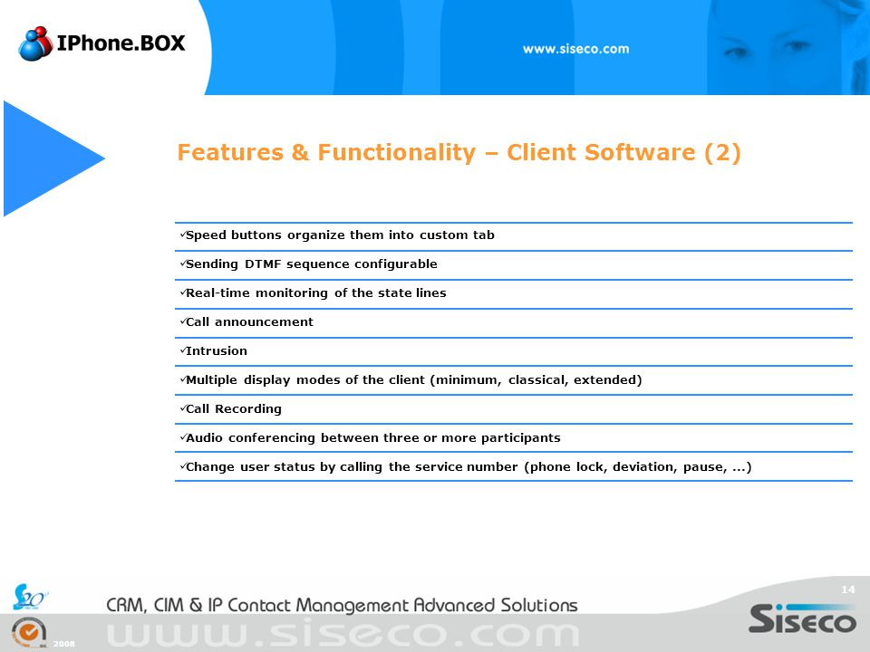 Features & Functionality – Client Software (2)