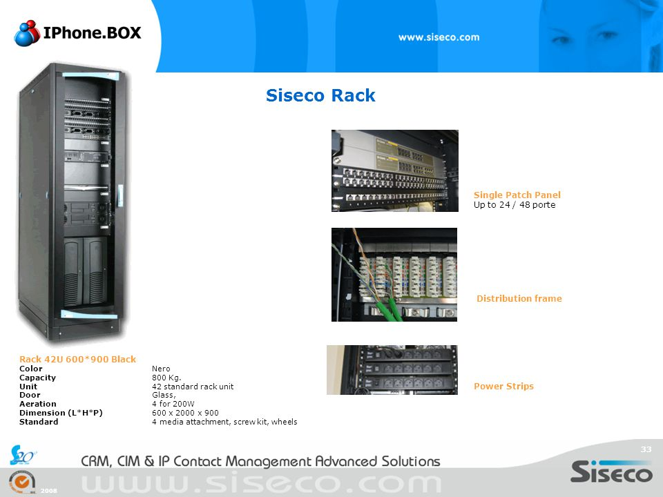 Siseco Rack Single Patch Panel Up to 24 / 48 porte Distribution frame