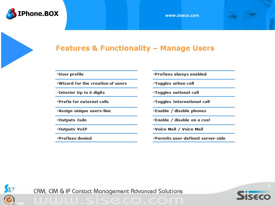 Features & Functionality – Manage Users