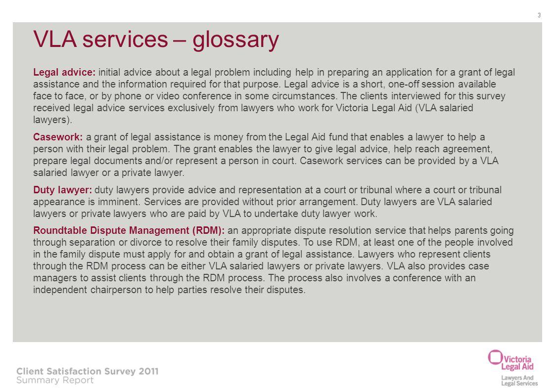 VLA services – glossary