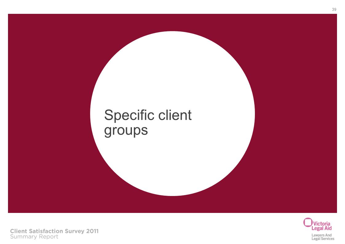 Specific client groups
