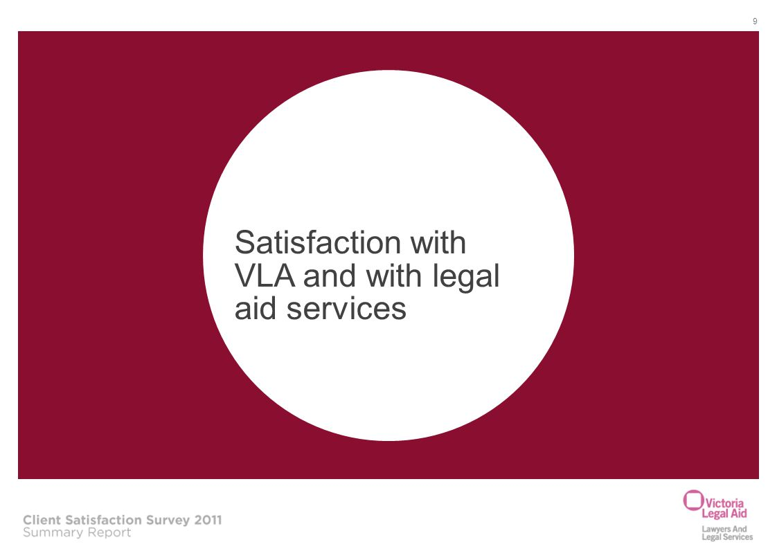 Satisfaction with VLA and with legal aid services