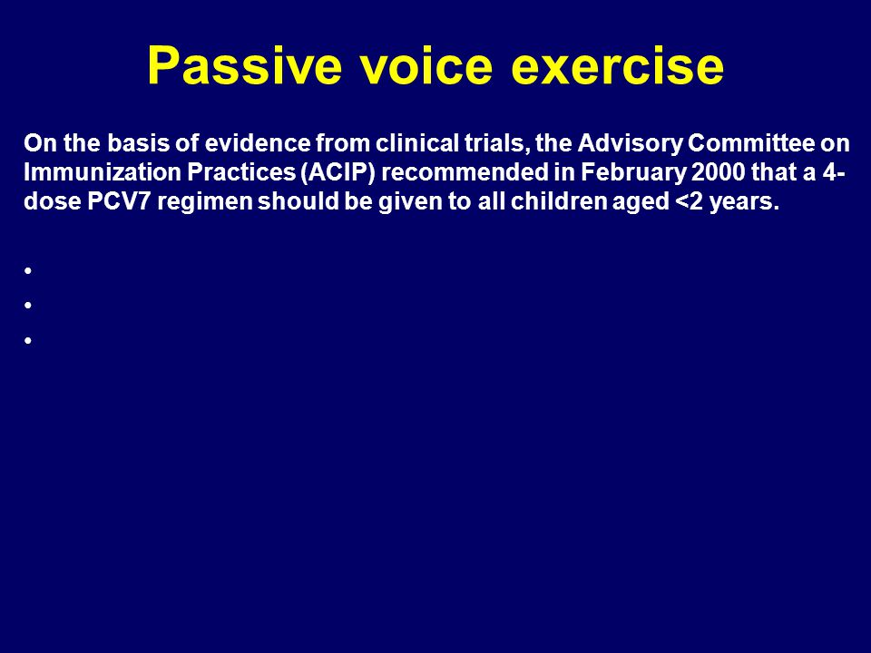 Passive voice exercise