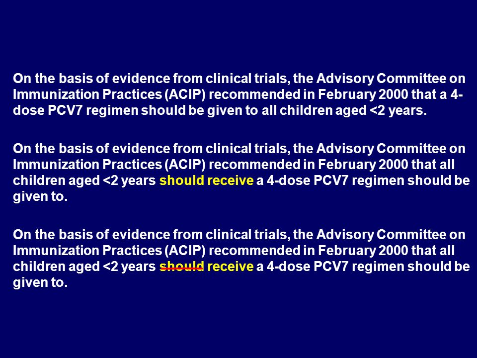 On the basis of evidence from clinical trials, the Advisory Committee on Immunization Practices (ACIP) recommended in February 2000 that a 4-dose PCV7 regimen should be given to all children aged <2 years.
