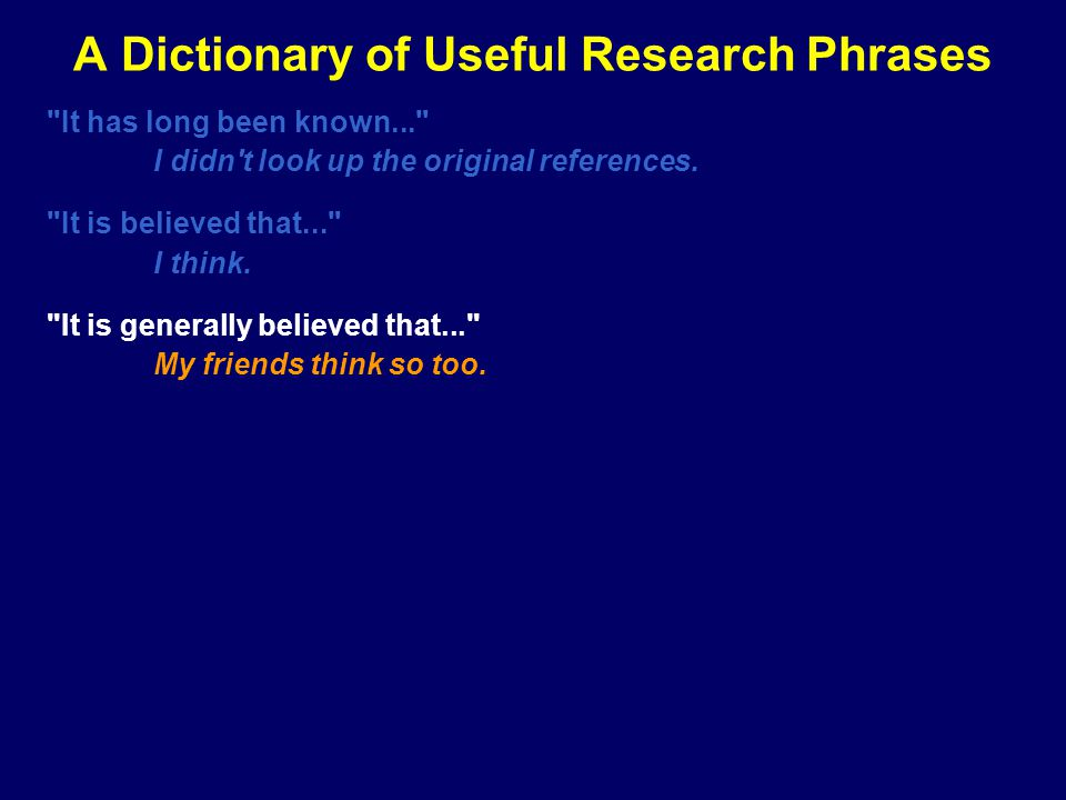 A Dictionary of Useful Research Phrases