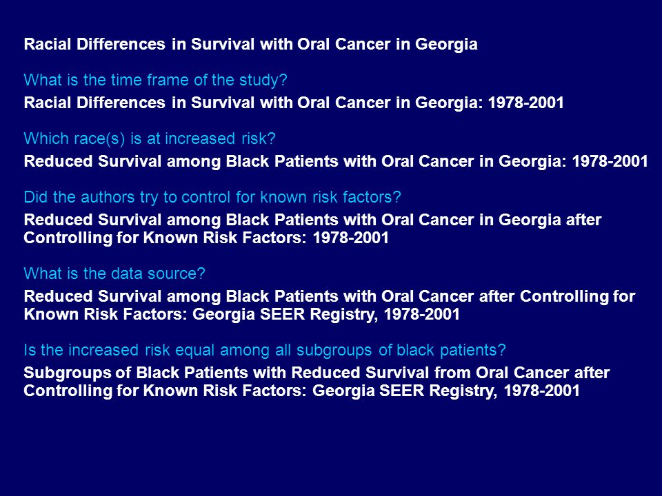 Racial Differences in Survival with Oral Cancer in Georgia