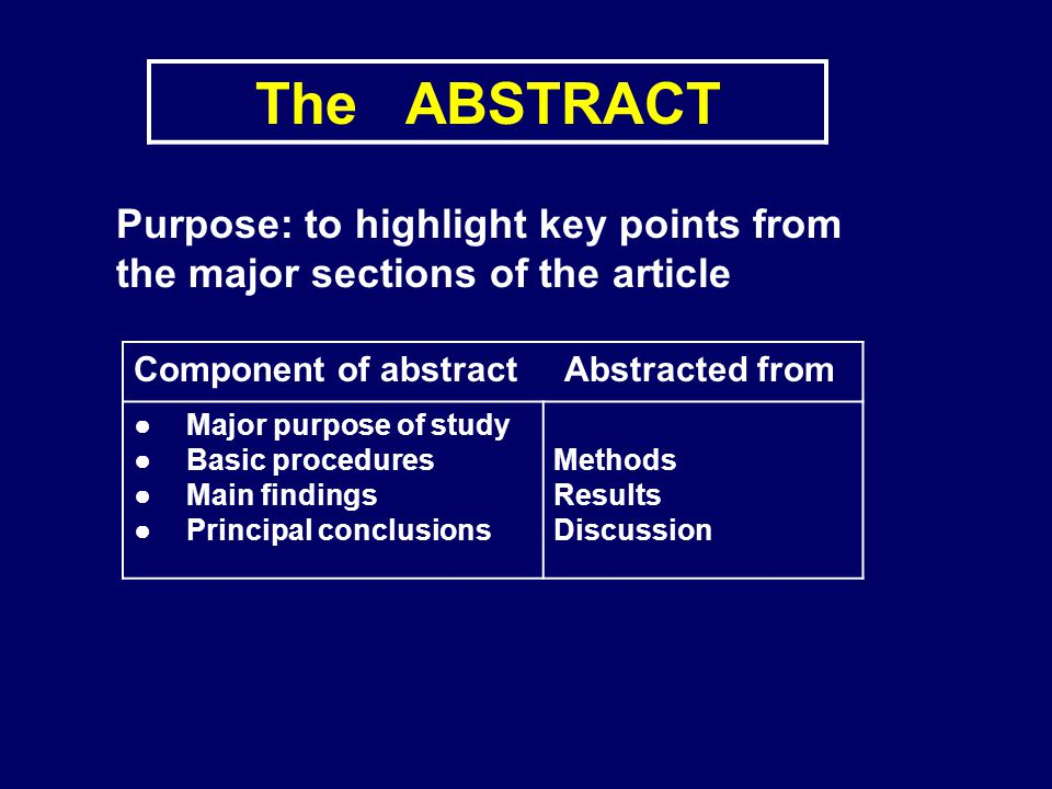 The ABSTRACT Purpose: to highlight key points from the major sections of the article. Component of abstract Abstracted from.