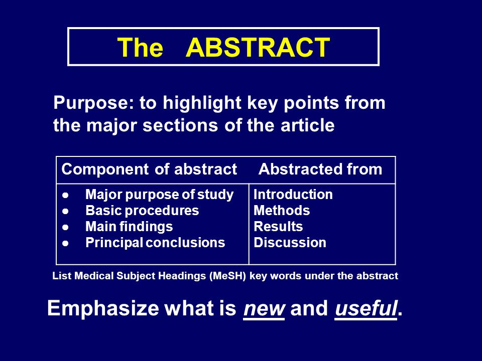 The ABSTRACT Emphasize what is new and useful.