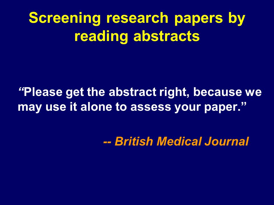 Screening research papers by reading abstracts