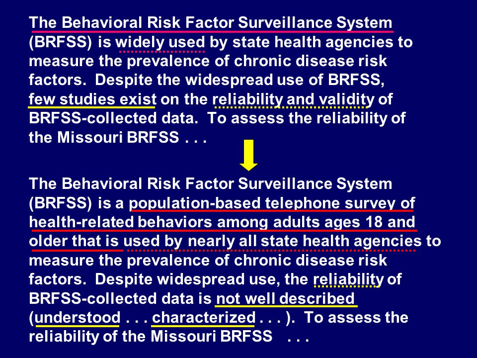 The Behavioral Risk Factor Surveillance System (BRFSS) is widely used by state health agencies to measure the prevalence of chronic disease risk factors. Despite the widespread use of BRFSS, few studies exist on the reliability and validity of BRFSS-collected data. To assess the reliability of the Missouri BRFSS . . .