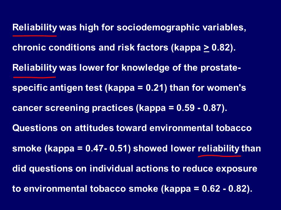 Reliability was high for sociodemographic variables, chronic conditions and risk factors (kappa > 0.82).