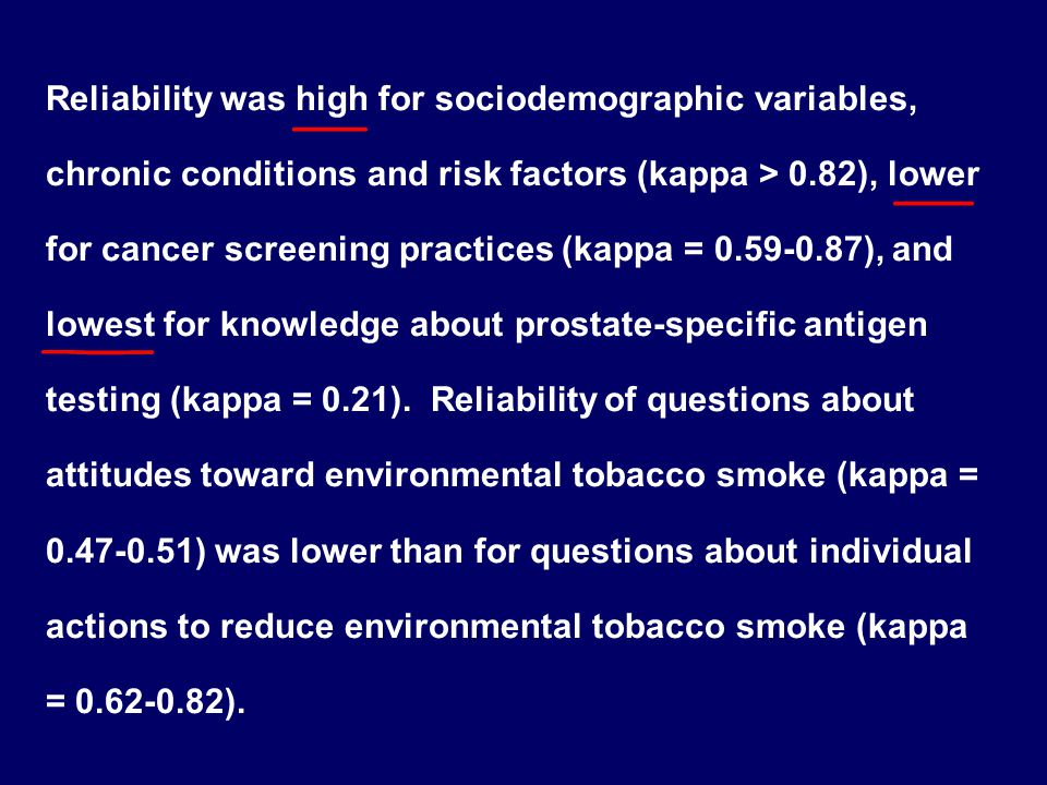 Reliability was high for sociodemographic variables, chronic conditions and risk factors (kappa > 0.82), lower for cancer screening practices (kappa = 0.59‑0.87), and lowest for knowledge about prostate‑specific antigen testing (kappa = 0.21).